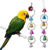 Colorful Bird Toys Ringer Birds Parrot Conure Caique Cockatiel Cage Chewing Bells Toy Pet Bird Ring Bell Parrot Toys