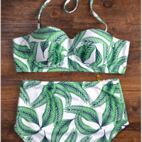 Fashion sexy hot two piece vest type two piece bikini light green bath suit
