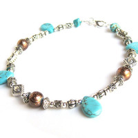 Engraved Silver Anklet Turquoise Teardrop Bronze Bead Lux Beaded Bling
