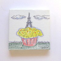 Eiffel Tower on a cupcake Original Acrylic Painting Pen and Ink on Canvas