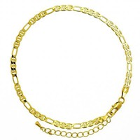 Gold Layered 5.222.031.10 Basic Anklet, Figaro Design, Diamond Cutting Finish, Golden Tone