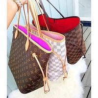 "Hipgirls LV Bag Women ""Louis Vuitton""Bag  Classic Popular Shopping Leather Handbag Tote Cosmetic Bag Two Piece Set"