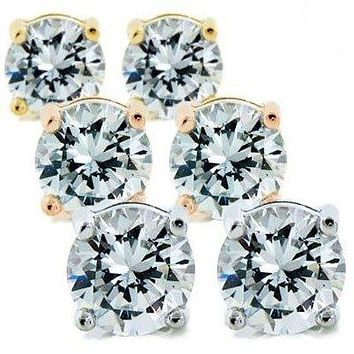 Mia 14k Gold Sterling Silver Diamond Simulated 2Ct. Stud Earrings