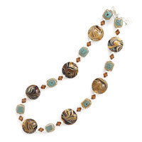 16in x 2in Extension Ceramic and Brown Swirl Design Glass Bead Necklace with Austrian Crystals