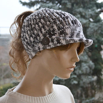 Messy Bun Beanie Crocheted Ponytail Hole Hat lovely warm autumn peaked cap accessories women clothing crochet Hat
