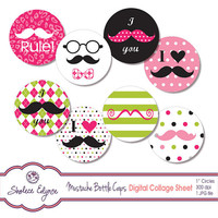 Girl Mustache Bottle Caps Digital Collage Sheet, 1 inch Circles, Instant Download, Commercial Use, Printable 300 dpi JPG file