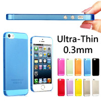 0.3mm Slim Ultra Thin Colorful Translucent Design Matte Back Cover phone Case For iphone 5 5s cases multicolor optional