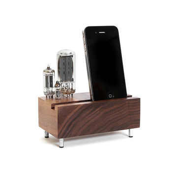 Universal dock for iPhone Samsung Galaxy stand handcrafted from walnut wood with triple electron tubes