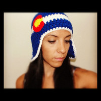 Colorado Flag Hat With Ear Flaps/ You Choose size by Love2Hook