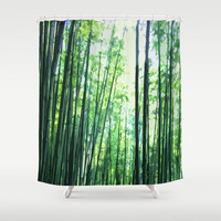 Bamboo Forest - Shower Curtain, Jungle Green Woodland Style Decor, Boho Chic Vanity Bathroom Backdrop Accent Hanging Tub Curtain. 71x74 inch