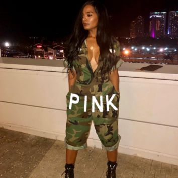 Victoria Pink Fashion New women american flag letter jumpsuit camouflage Green