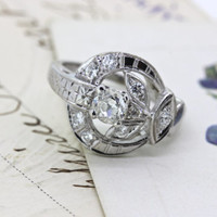 Antique Engagement Ring | 1930s Retro Ring | Alternative Diamond Ring | 14k White Gold Ring | Cocktail Ring | Delicate Ring | Size 5