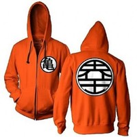 Dragon Ball Z Kame Symbol Orange Zip-Up Adult Hoodie Sweatshirt