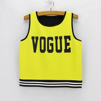2016 fashion design short dresses low price drop shipping Vogue Fluorescent yellow print Crop tops women summer cropped tanks