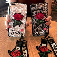 Fashion Sexy 3D Rose Flower Phone Case For Apple iPhone 7 6 S 6S 8 Plus X Woman Lace Back Cover For iPhone7 5 5S SE With Lanyard