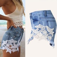 Women Ladies High Waist Floral Lace Hot Pants Denim Jeans Shorts Casual Pants