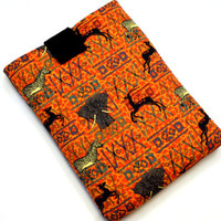 Hand Crafted Tablet Case from African Wildlife Kente Tribal Print Fabric /Case for:Kindle Fire,Samsung Galaxy Tab,Google Nexus, iPad Air