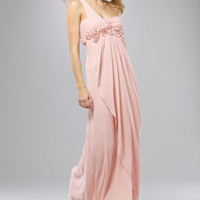 LM Collection 2012 Prom Dresses - Blush Floral Bust One Shoulder Draped Prom Dress