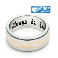 """Unisex Friend Gift - Spinner Purity Ring Engraved on Inside with """"Always Be Successful"""", Sizes 6 to 9"""