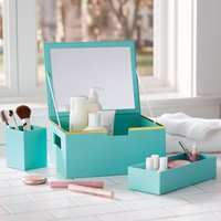 Portable Paper Makeup Station, Pool With Gold Trim