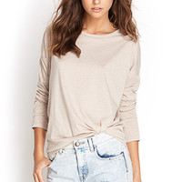 FOREVER 21 Heathered Drop Shoulder Top
