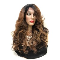 """Ombre Dark Brunette Balayage Volume Curl Hair LACE Front Wig 18""""  Angelica 0119 29"""