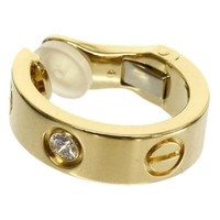 Cartier K18YG Earring LOVE Ring 1P Diamond Only one side Authentic carved seal