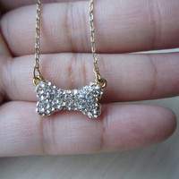 Gold necklaces, bone necklaces, crystal-studded bones, shiny, cute, funny, gift