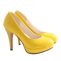 High Heel Superior PU Fashionable Women Thin Shoes  yellow
