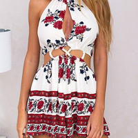Red Floral Printed Cut Out Halter Romper