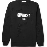 Givenchy - Distressed Printed Cotton-Jersey Sweatshirt | MR PORTER