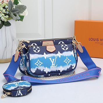 LV Louis Vuitton new product trend multi-color stitching printed letters three-piece mahjong bag shoulder bag messenger bag round key bag