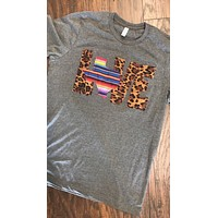 LOVE Shirt with Leopard/Serape