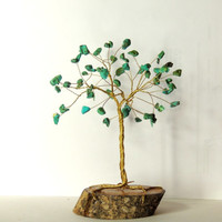 Green turqoise gemstone wire tree,wire tree sculpture,wire tree of life,beaded tree,gem tree