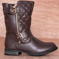 Forever Urban Cowboy Quilted Double Buckle Zipper Moto Boots Sevilla-19 - Brown