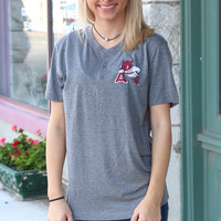 "Vintage Arkansas Hog Leaning on ""A"" Henley Tee {H. Grey}"