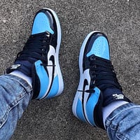 Air jordan 1 AJ 1 Men's shoes high-top sneakers female students breathable basketball shoes sneakers Blue&Black