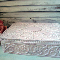 Pink Vintage Jewelry Box, Light Pink Silver Plated Jewelry Holder, Ornate Jewelry Box, Shabby Chic Distressed Box, Baby Pink and White Box