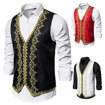 Men's Black and White Vests with Gold Performance Clothing