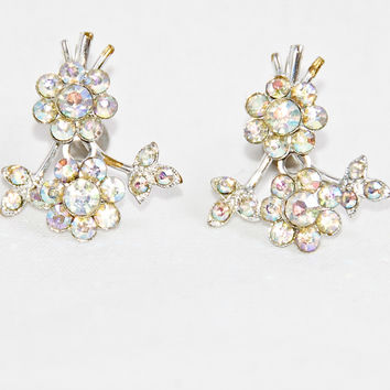 Vintage Sparkle Flower Screw Back Earrings