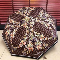 LV Summer Fashion New Monogram Floral Leaf Print Umbrella Coffee