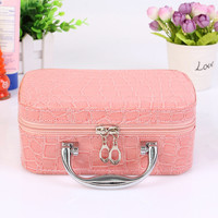 Hot 2017 Small Mini Alligator Cosmetic Cases Cute Flower Lady Makeup Bag Women PU Leather Make up Suitcase Crocodile Tote