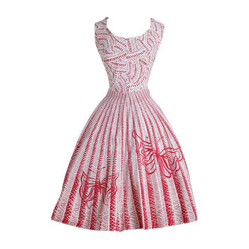 Vintage 1950s Red Butterfly Cotton Dress