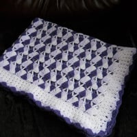 Crochet Baby Blanket, white, lilac, pale violet, Christening shawl, baby comforter