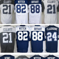 9 Tony Romo 21 Ezekiel Elliott 24 Morris Claiborne 82 Jason Witten 88 Dez Bryant Football Jerseys White Blue Thanksgiving Jersey