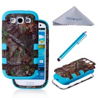 S3 Case, Wisdompro 3 in 1 Heavy Duty Hybrid Protective 3-Layer Case (Soft Internal Silicon Protection Inlay and Dual Hard External Armor Casing in Forest Camo Green) for Samsung Galaxy S III / S3 (Blue)