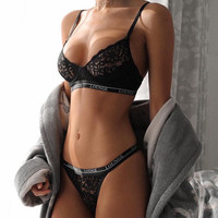 Lace Strap Letter Hollow Underwear Lingerie Set