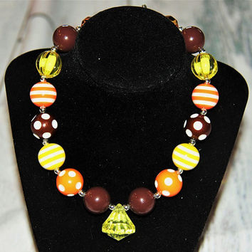 Yellow & Brown Bubblegum Necklace