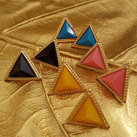 Statement earrings geometric triangle shape candy colors gold plated stud earrings