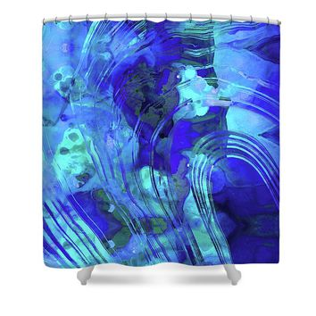 Blue Abstract Art - Reflections - Sharon Cummings Shower Curtain